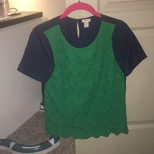 Navy and green lace top